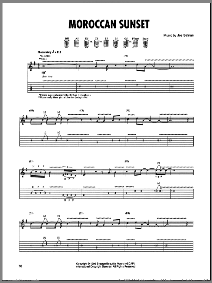 Moroccan Sunset sheet music for guitar (tablature) by Joe Satriani. Score Image Preview.
