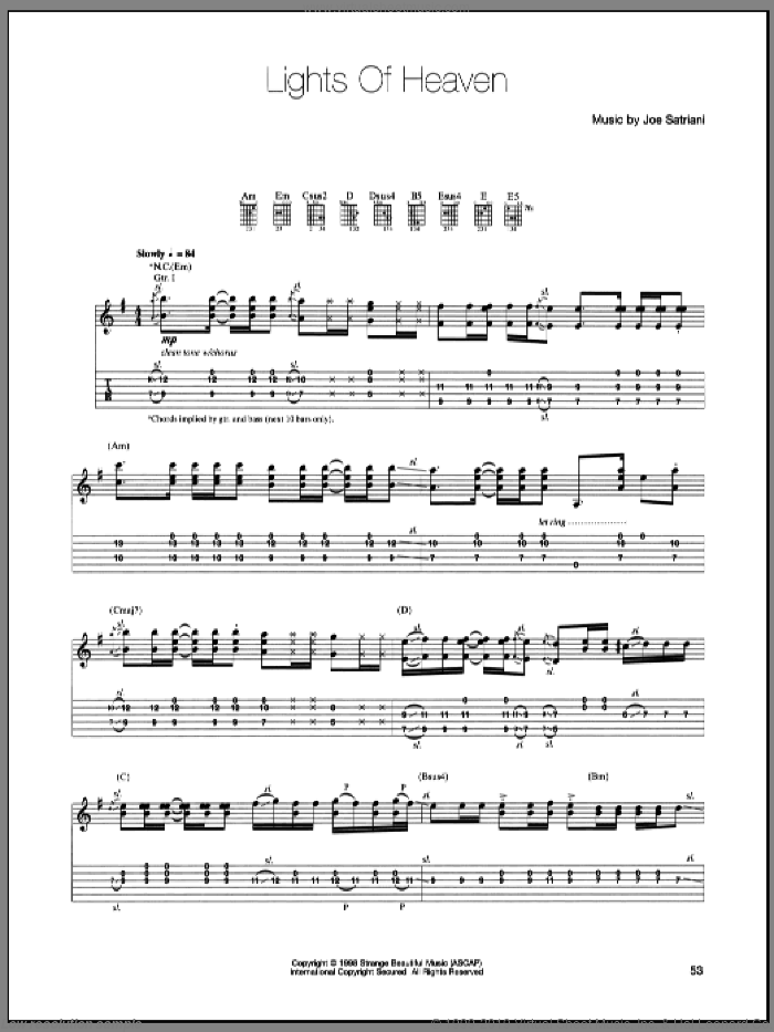 Lights Of Heaven sheet music for guitar (tablature) by Joe Satriani. Score Image Preview.