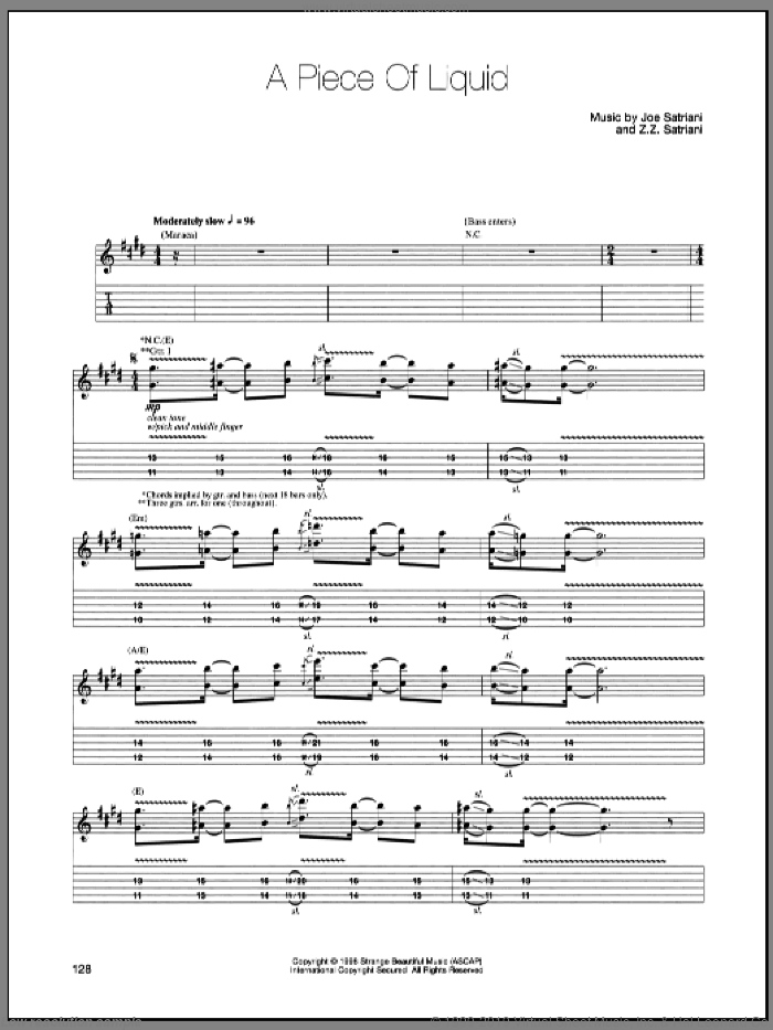 A Piece Of Liquid sheet music for guitar (tablature) by Joe Satriani and Z.Z. Satriani, intermediate. Score Image Preview.
