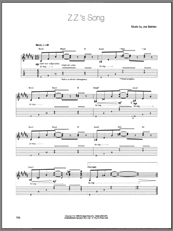 Z.Z.'s Song sheet music for guitar (tablature) by Joe Satriani, intermediate. Score Image Preview.