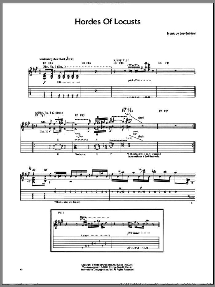 Hordes Of Locusts sheet music for guitar (tablature) by Joe Satriani. Score Image Preview.
