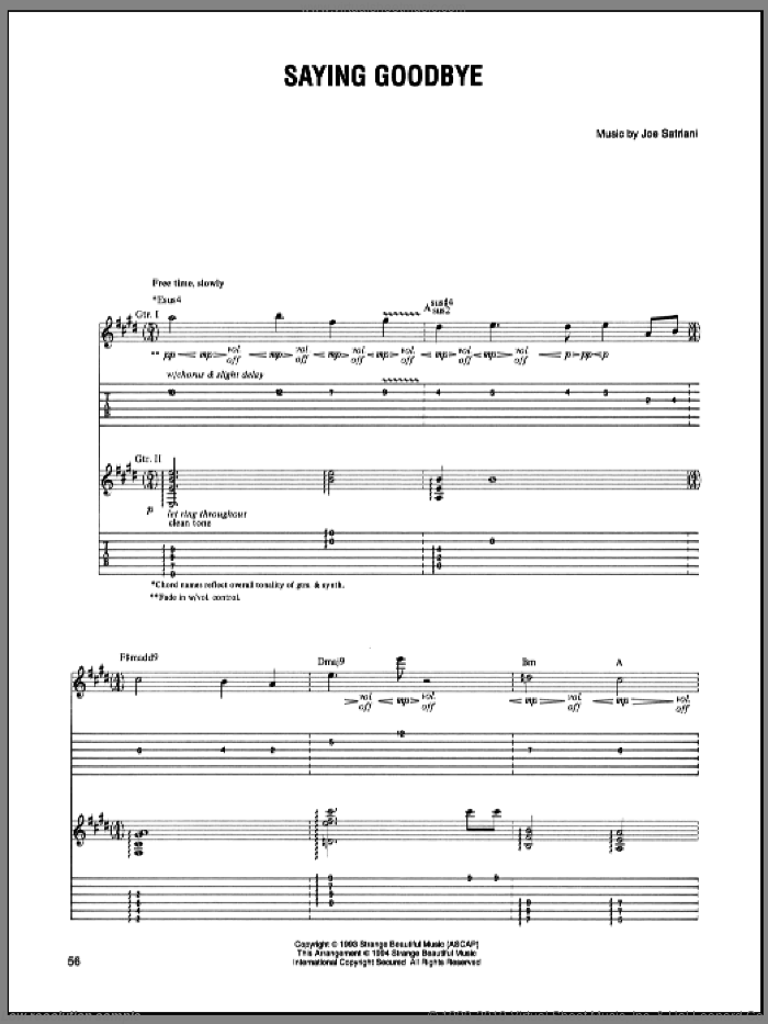 Saying Goodbye sheet music for guitar (tablature) by Joe Satriani. Score Image Preview.