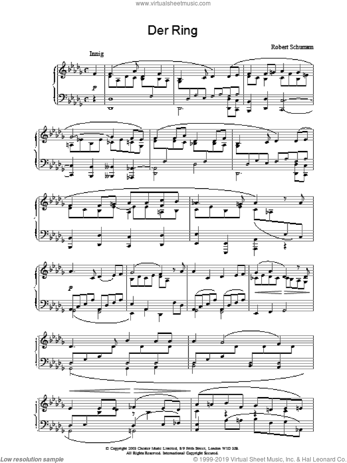Der Ring sheet music for piano solo by Robert Schumann, classical score, intermediate. Score Image Preview.