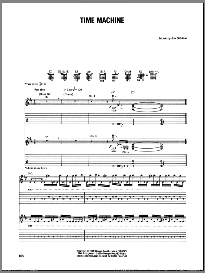 Time Machine sheet music for guitar (tablature) by Joe Satriani, intermediate