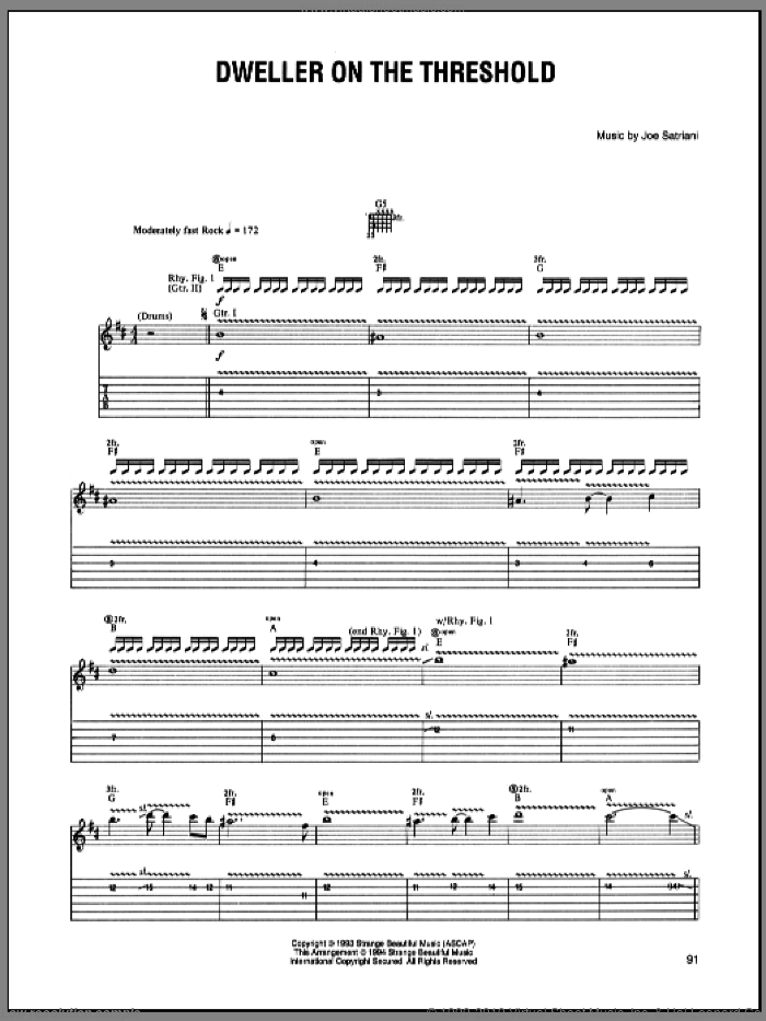 Dweller On The Threshold sheet music for guitar (tablature) by Joe Satriani. Score Image Preview.
