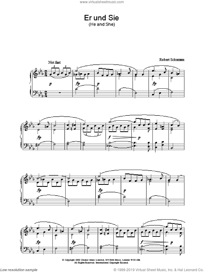 Er und Sie sheet music for piano solo by Robert Schumann. Score Image Preview.