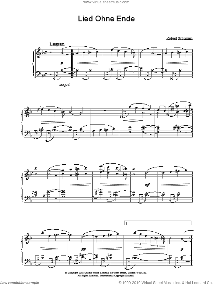 Lied Ohne Ende sheet music for piano solo by Robert Schumann, classical score, intermediate piano. Score Image Preview.