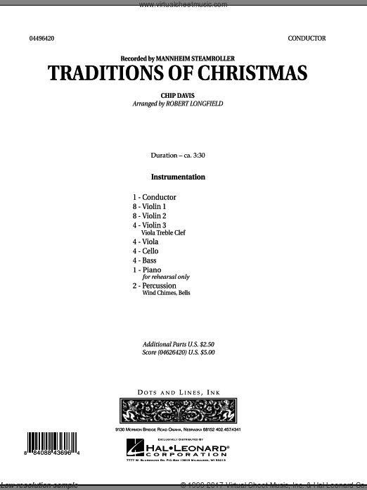 Traditions of Christmas (COMPLETE) sheet music for orchestra by Robert Longfield