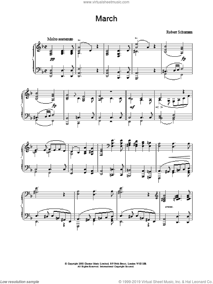 March sheet music for piano solo by Robert Schumann. Score Image Preview.