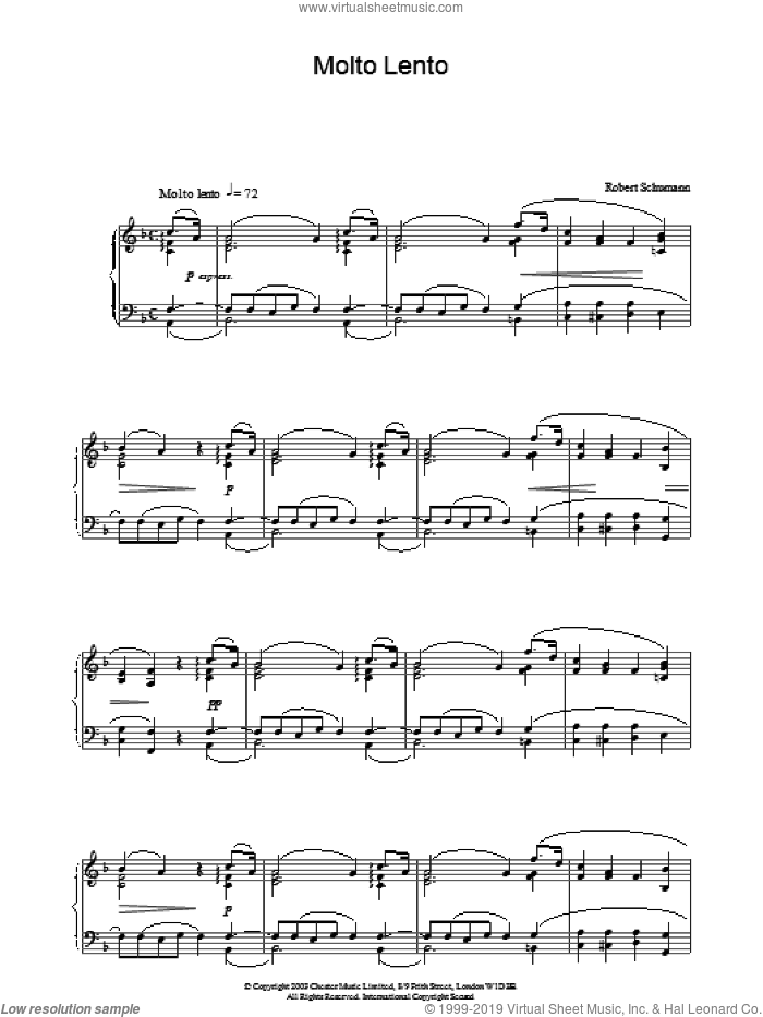 Molto Lento sheet music for piano solo by Robert Schumann. Score Image Preview.