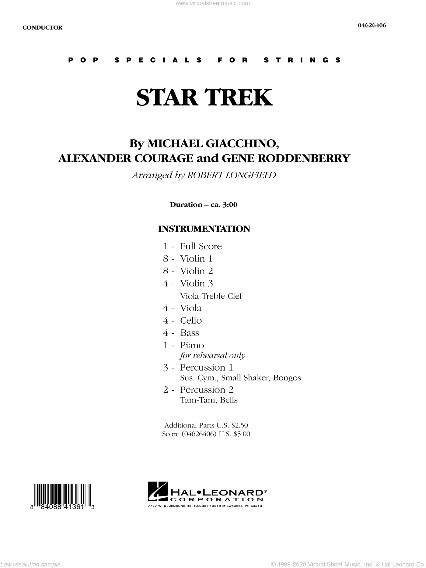 Star Trek sheet music for orchestra (full score) by Alexander Courage