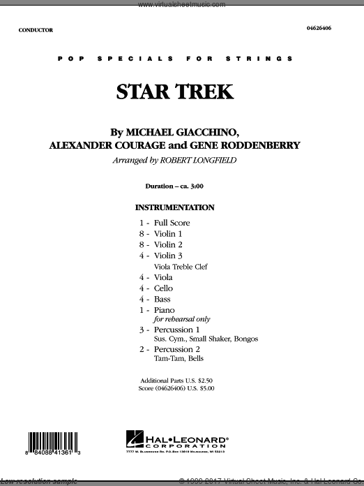 Star Trek (COMPLETE) sheet music for orchestra by Alexander Courage