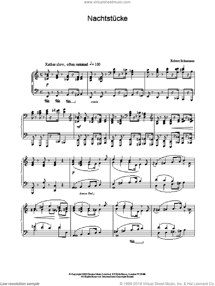 NachtstA�cke sheet music for piano solo by Robert Schumann. Score Image Preview.
