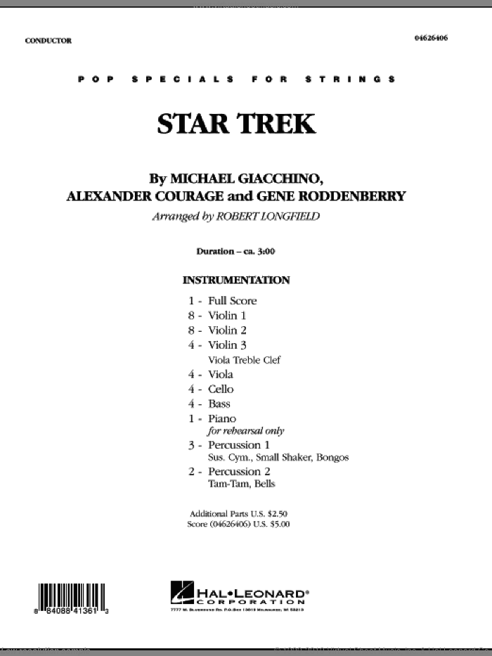 Star Trek (COMPLETE) sheet music for orchestra by Michael Giacchino, Alexander Courage, Gene Roddenberry and Robert Longfield, intermediate skill level