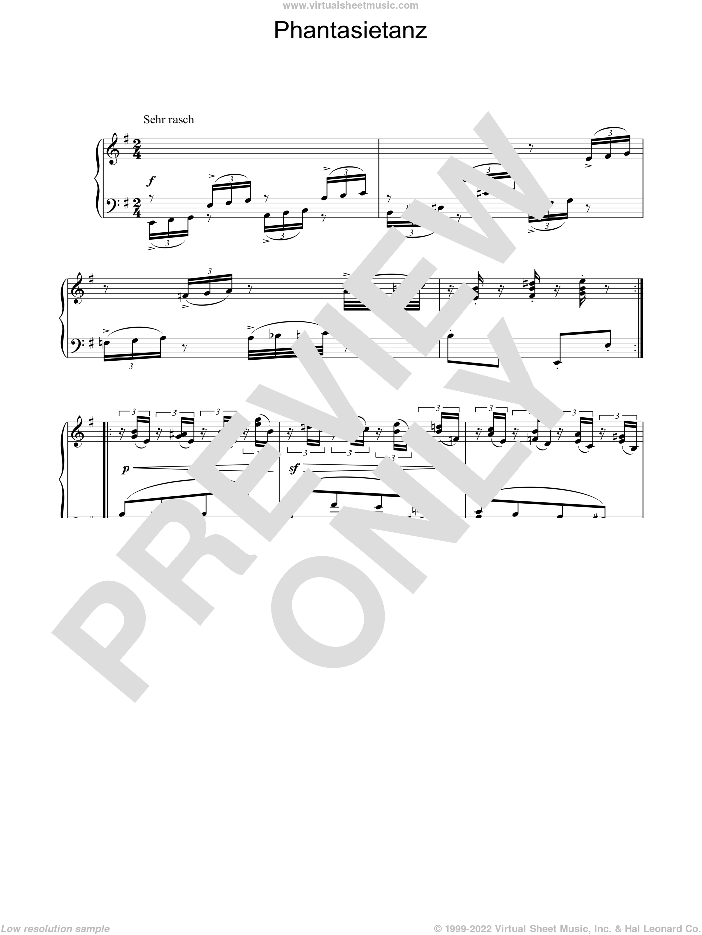 Phantasietanz sheet music for piano solo by Robert Schumann, classical score, intermediate skill level