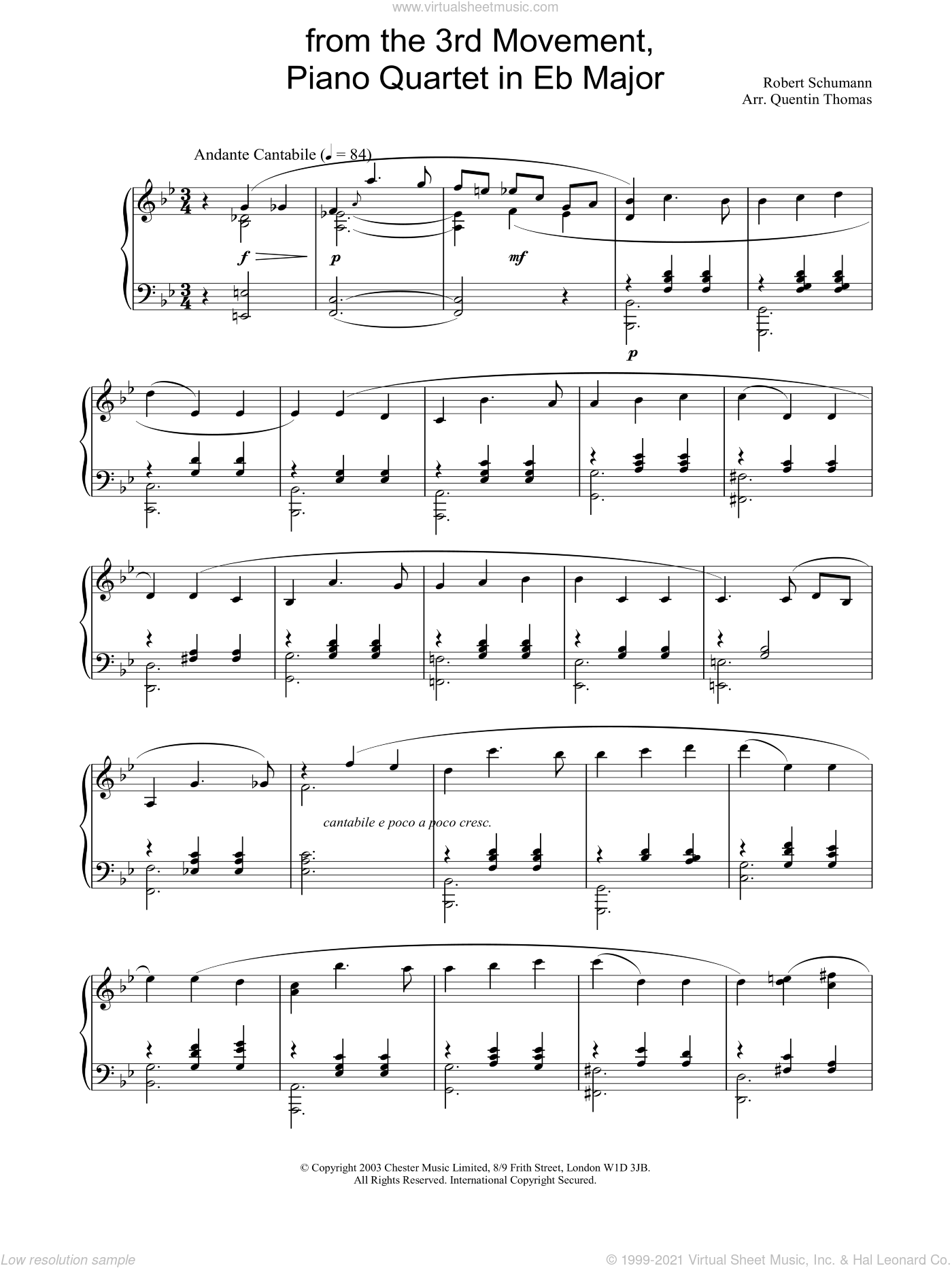 from the 3rd Movement, Piano Quartet in Eb Major sheet music for piano solo by Robert Schumann. Score Image Preview.