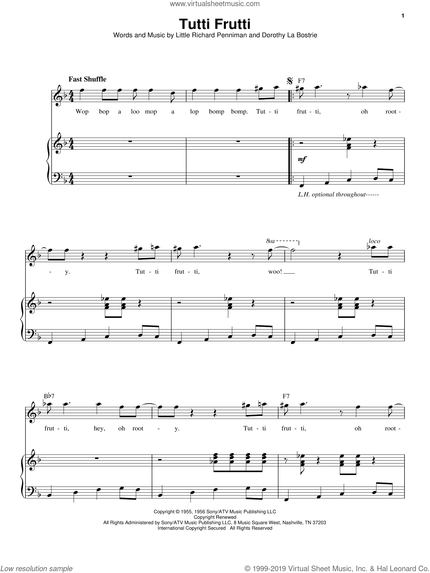 Tutti Frutti sheet music for voice and piano by Little Richard, Chuck Berry, Dorothy La Bostrie and Richard Penniman, intermediate skill level