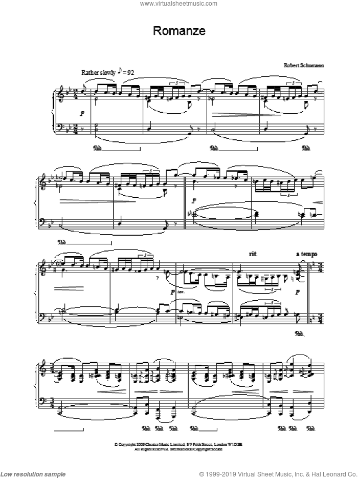 Romanze sheet music for piano solo by Robert Schumann. Score Image Preview.