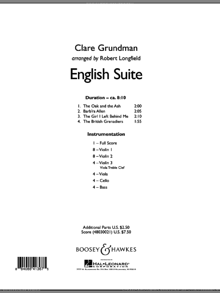 English Suite sheet music for orchestra (full score) by Clare Grundman