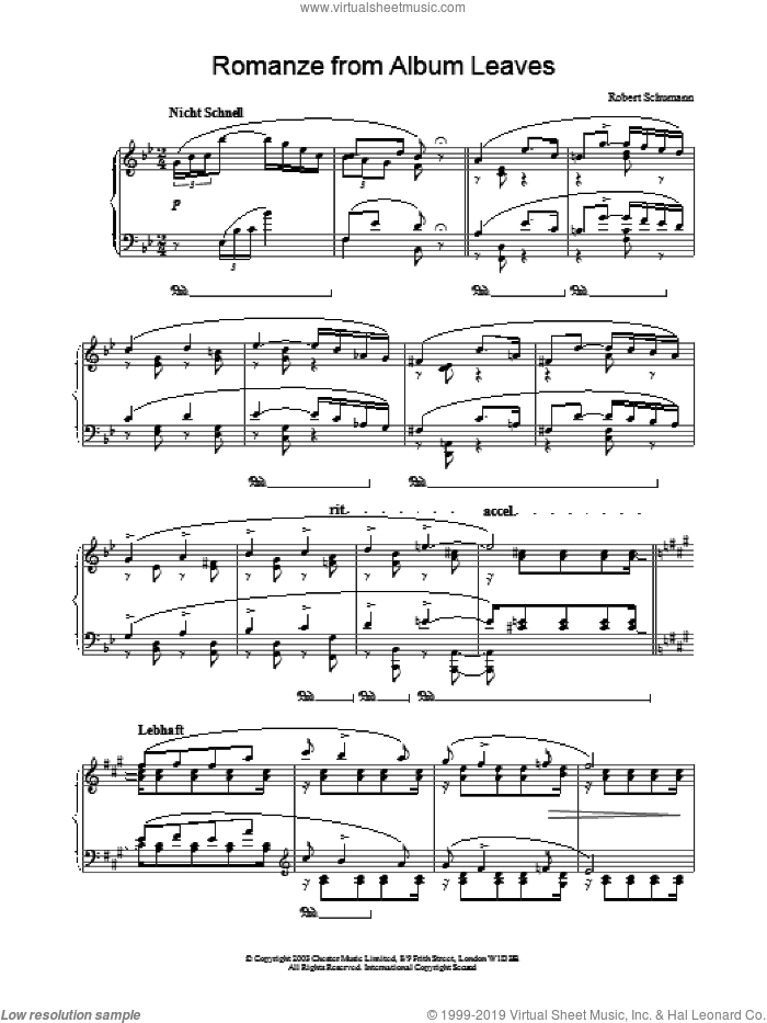 Romanze from Album Leaves sheet music for piano solo by Robert Schumann, classical score, intermediate skill level