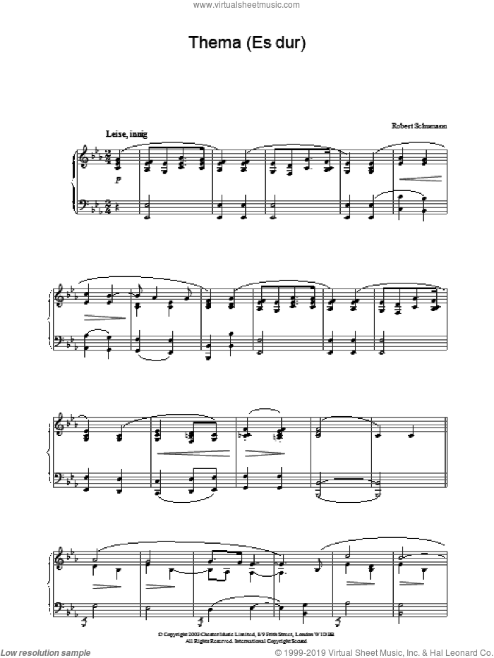 Thema (Es dur) sheet music for piano solo by Robert Schumann, classical score, intermediate skill level