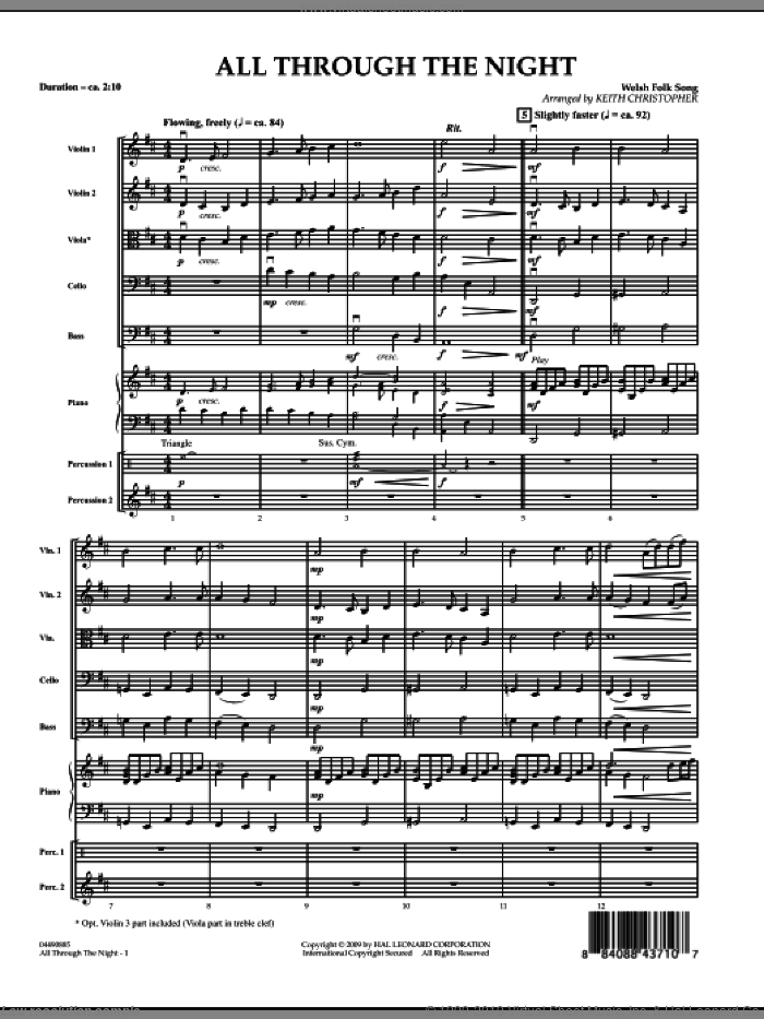 All Through The Night (COMPLETE) sheet music for orchestra by Keith Christopher and Miscellaneous, intermediate. Score Image Preview.