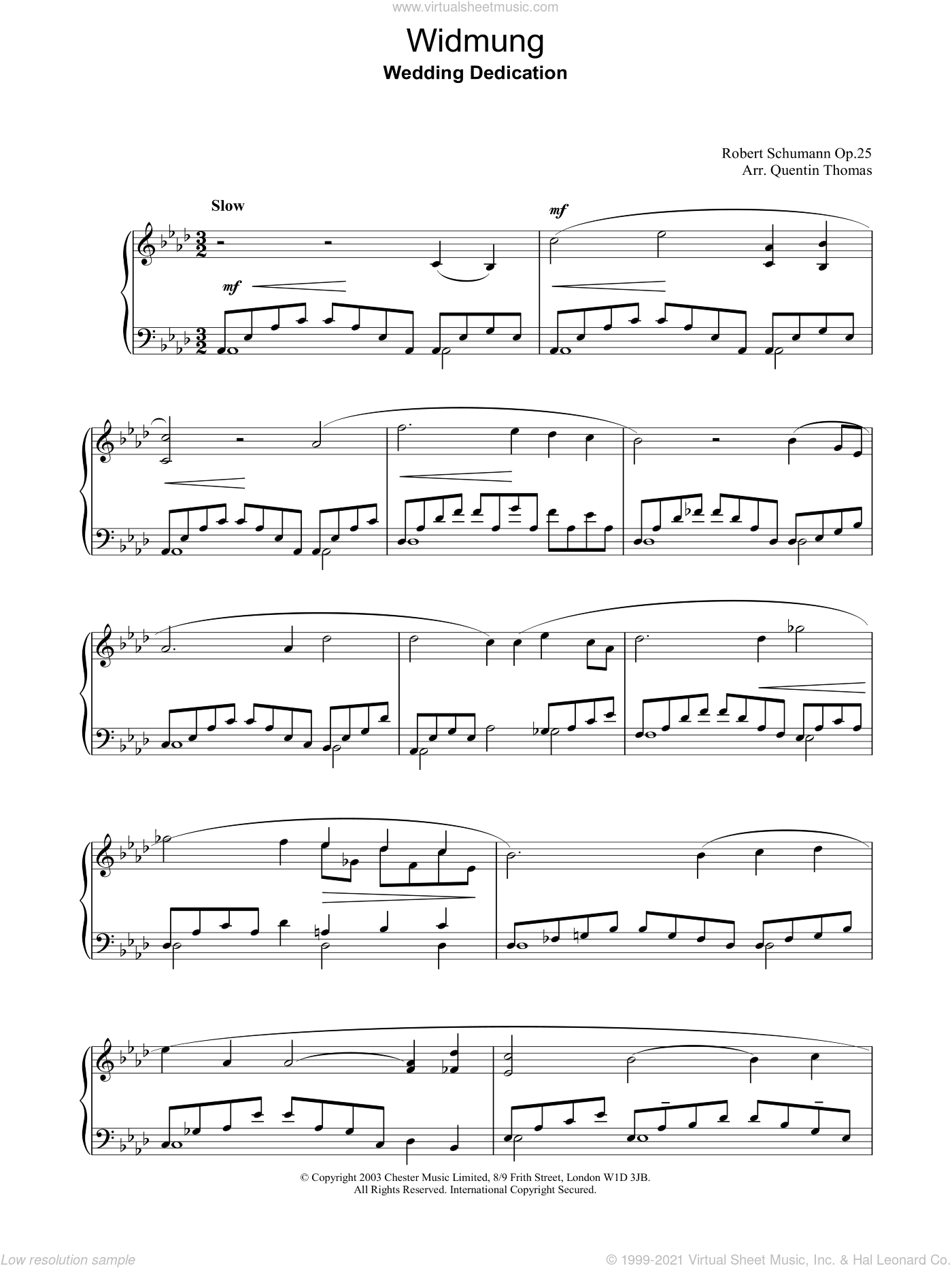 Widmung sheet music for piano solo by Robert Schumann, classical score, intermediate. Score Image Preview.