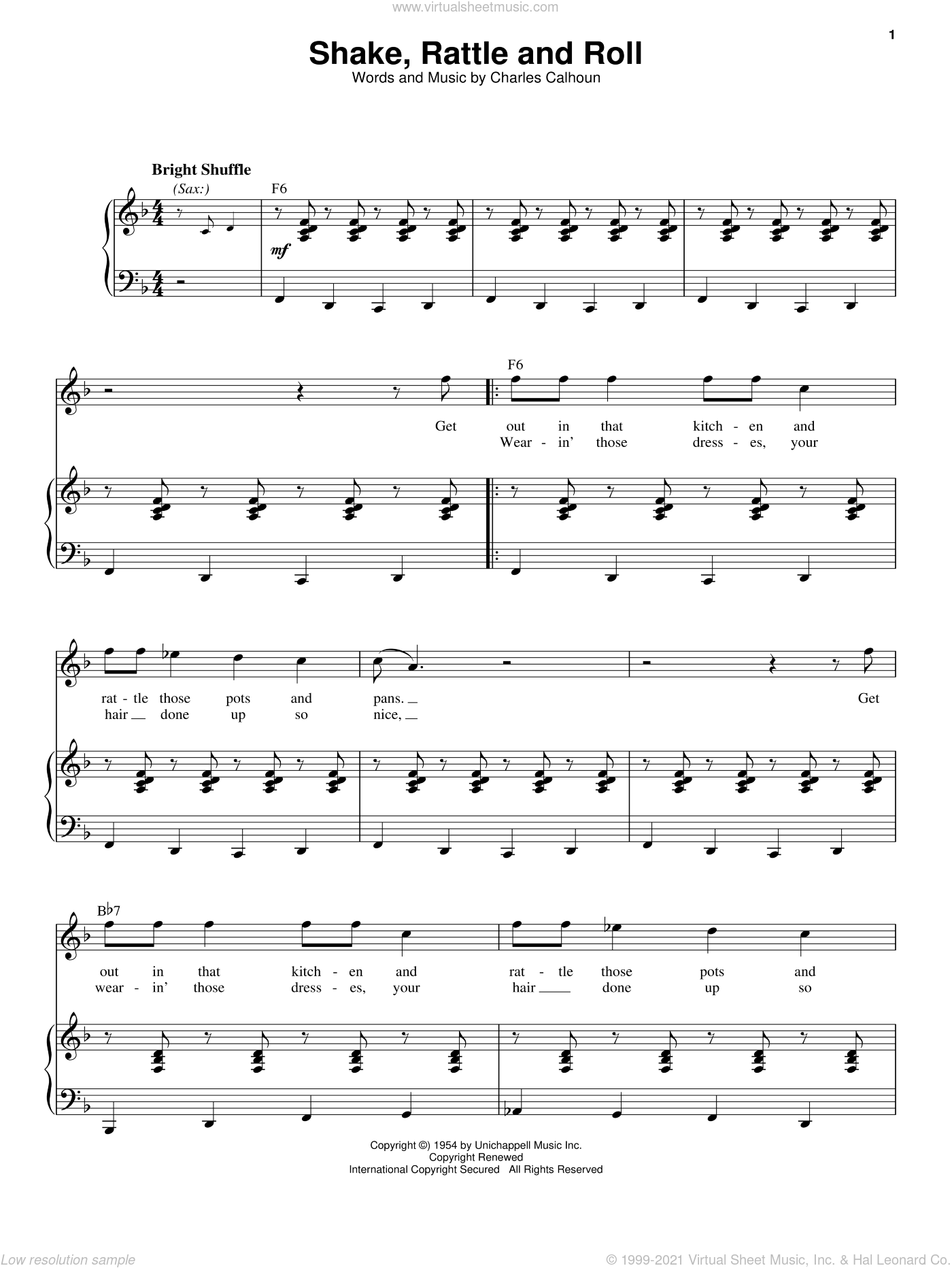Shake, Rattle And Roll sheet music for voice and piano by Bill Haley and Charles Calhoun. Score Image Preview.
