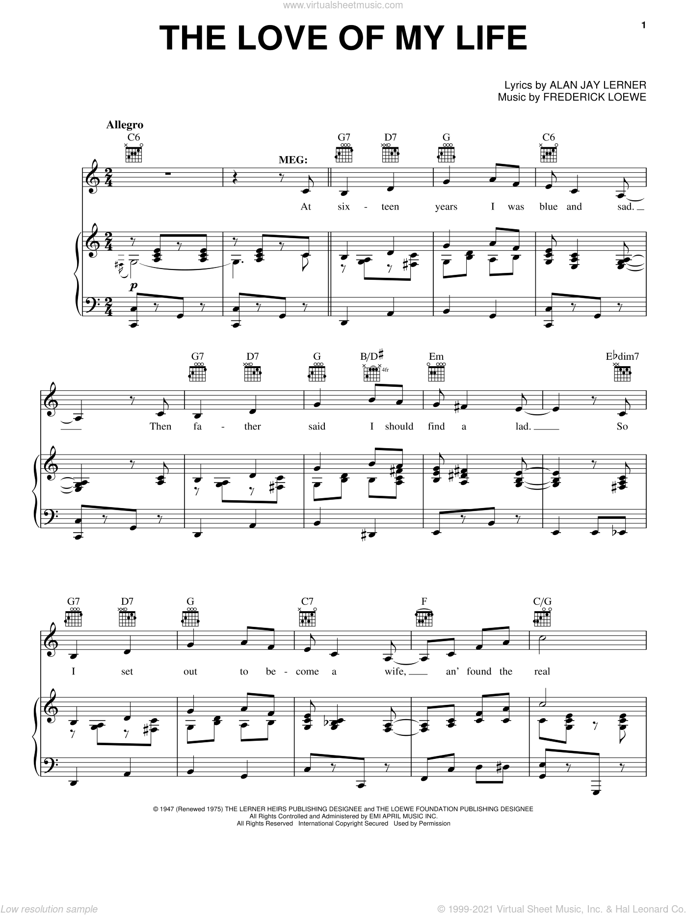 The Love Of My Life sheet music for voice, piano or guitar by Lerner & Loewe, Alan Jay Lerner and Frederick Loewe, intermediate voice, piano or guitar. Score Image Preview.