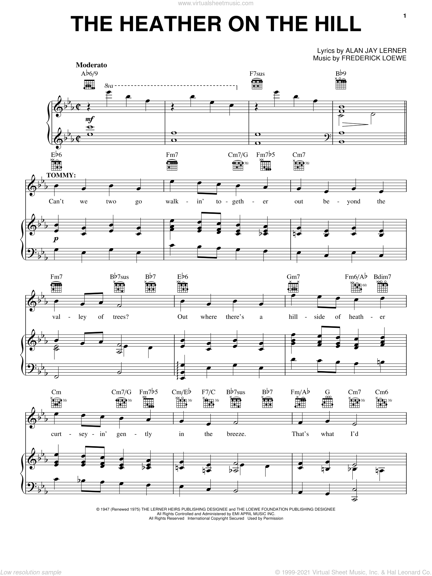 The Heather On The Hill sheet music for voice, piano or guitar by Lerner & Loewe, Brigadoon (Musical), Alan Jay Lerner and Frederick Loewe, intermediate skill level