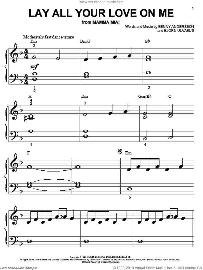 Lay All Your Love On Me sheet music for piano solo (big note book) by Bjorn Ulvaeus