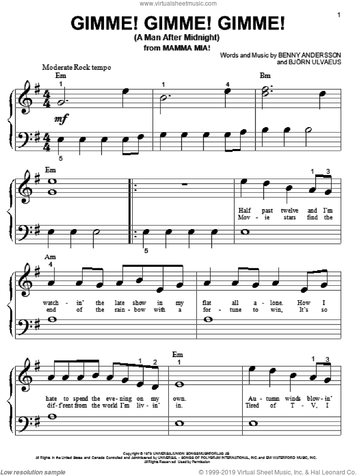 Gimme! Gimme! Gimme! (A Man After Midnight) sheet music for piano solo (big note book) by ABBA, Mamma Mia! (Movie), Benny Andersson and Bjorn Ulvaeus, easy piano (big note book)