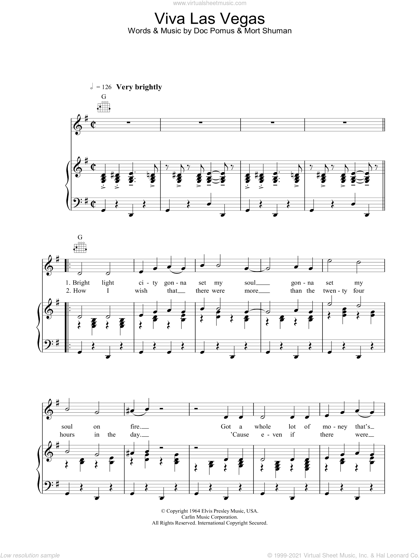 Viva Las Vegas sheet music for voice, piano or guitar by Elvis Presley. Score Image Preview.
