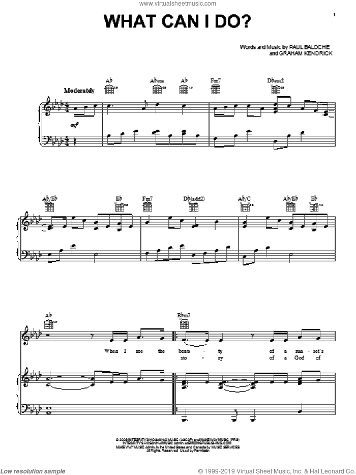 What Can I Do? sheet music for voice, piano or guitar by Paul Baloche and Graham Kendrick, intermediate voice, piano or guitar. Score Image Preview.