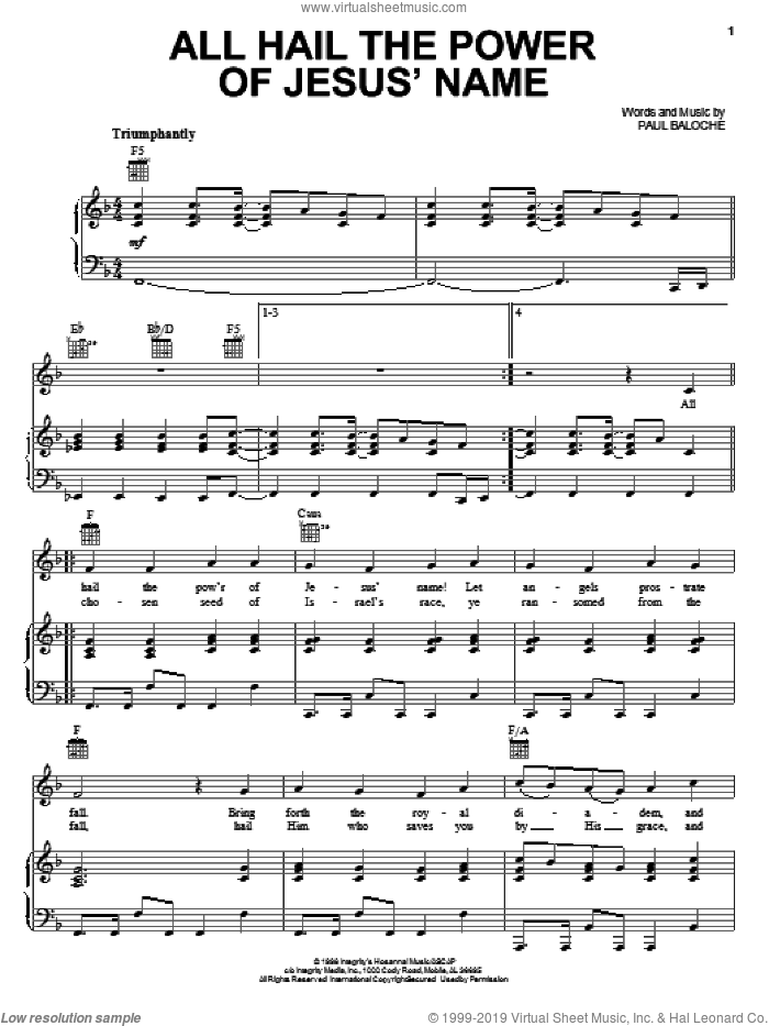 All Hail The Power Of Jesus' Name sheet music for voice, piano or guitar by Paul Baloche, intermediate skill level