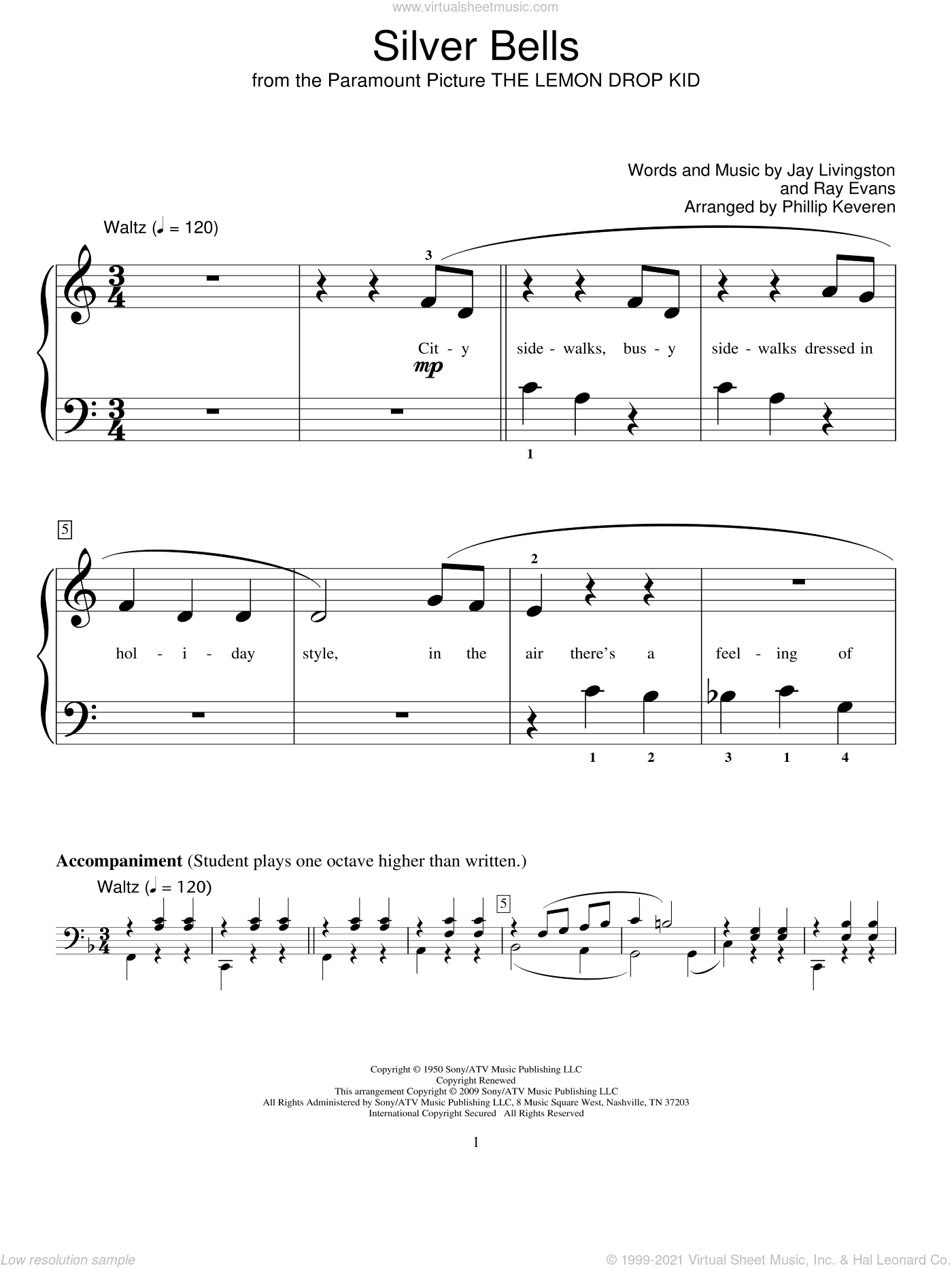 Silver Bells sheet music for piano solo (elementary) by Jay Livingston, Phillip Keveren, Miscellaneous and Ray Evans, beginner piano (elementary)