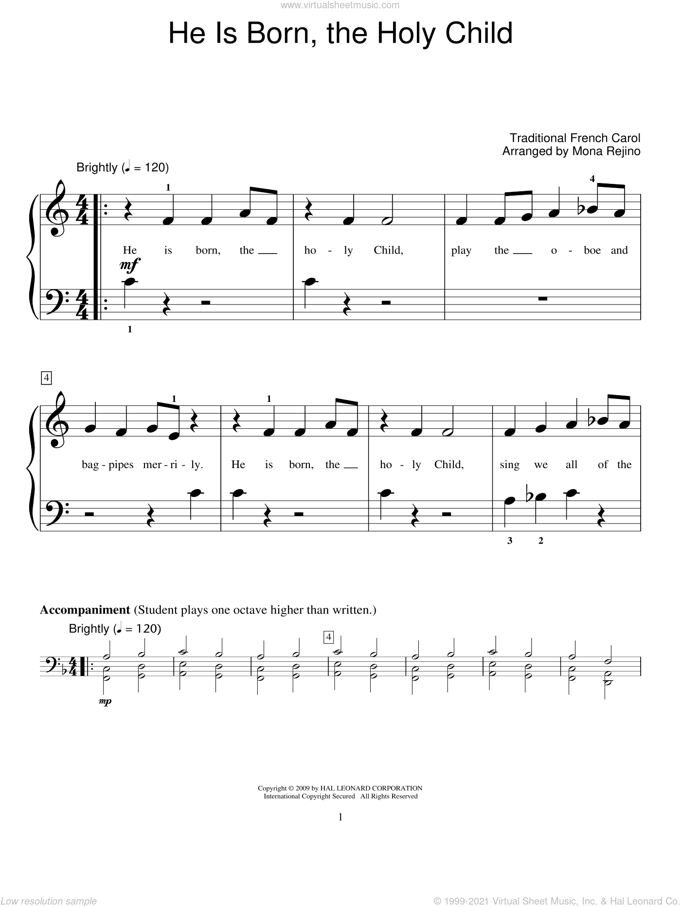He Is Born, The Holy Child (Il Est Ne, Le Divin Enfant) sheet music for piano solo (elementary)  and Mona Rejino. Score Image Preview.