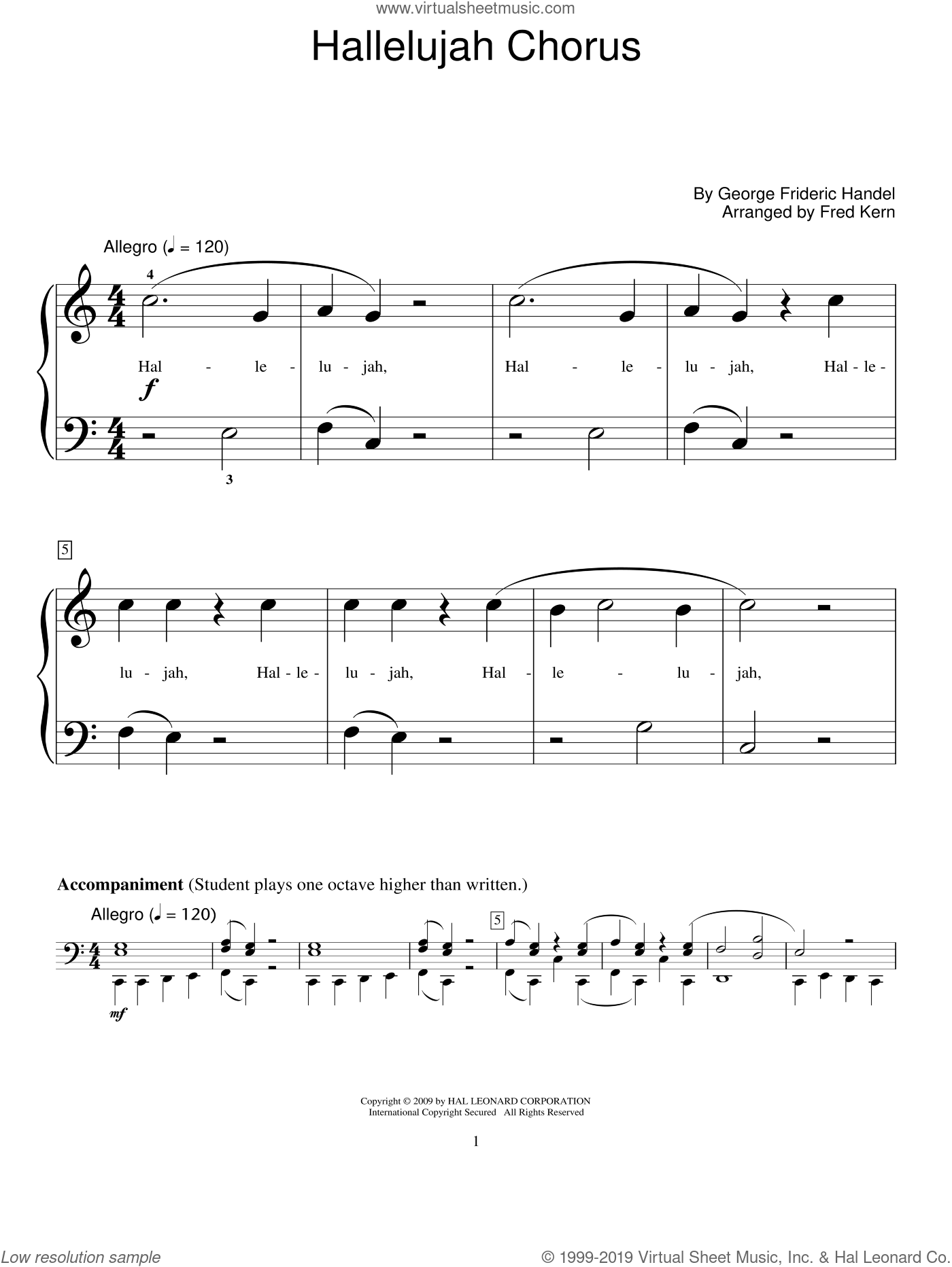 Hallelujah Chorus sheet music for piano solo (elementary) by George Frideric Handel, Fred Kern and Miscellaneous. Score Image Preview.