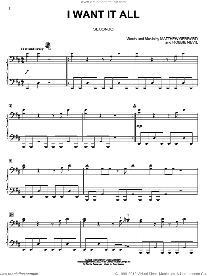 I Want It All sheet music for piano four hands (duets) by Robbie Nevil and Matthew Gerrard. Score Image Preview.