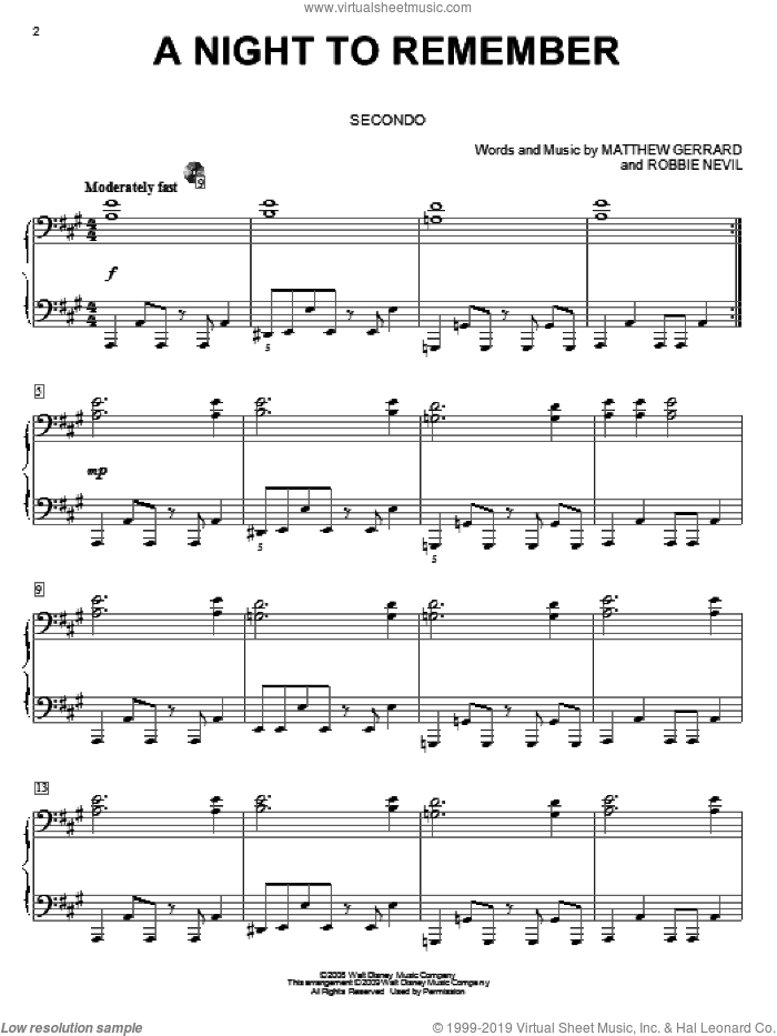 A Night To Remember sheet music for piano four hands (duets) by High School Musical 3, Matthew Gerrard and Robbie Nevil, intermediate piano four hands. Score Image Preview.