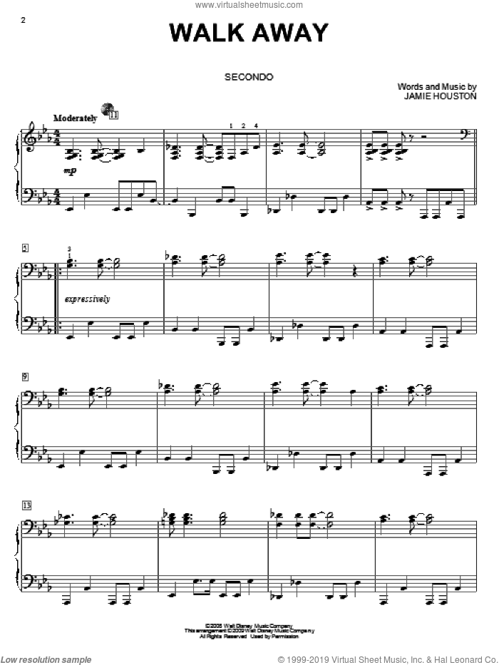 Walk Away sheet music for piano four hands (duets) by High School Musical 3 and Jamie Houston. Score Image Preview.