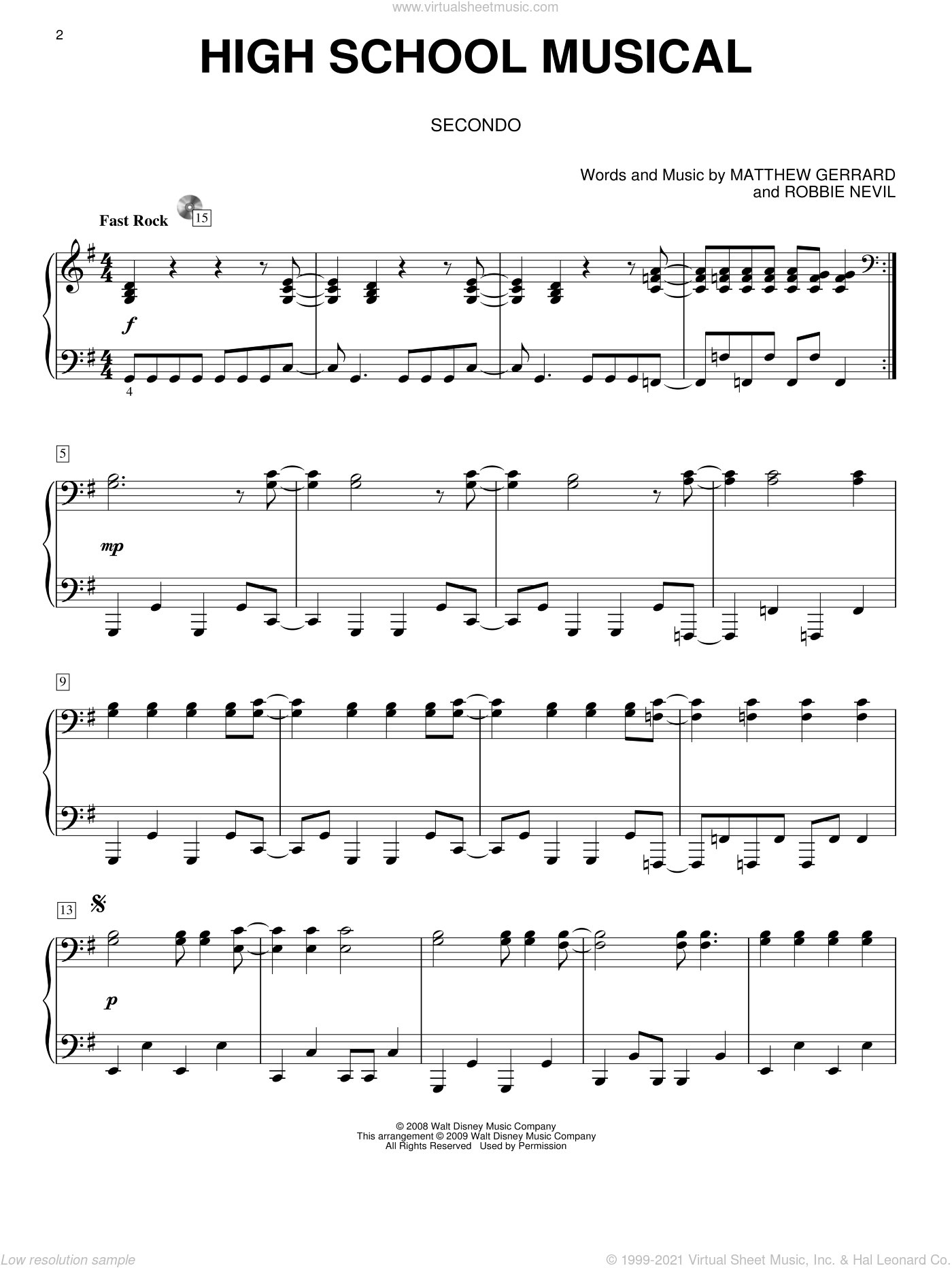 High School Musical sheet music for piano four hands (duets) by Robbie Nevil and Matthew Gerrard. Score Image Preview.