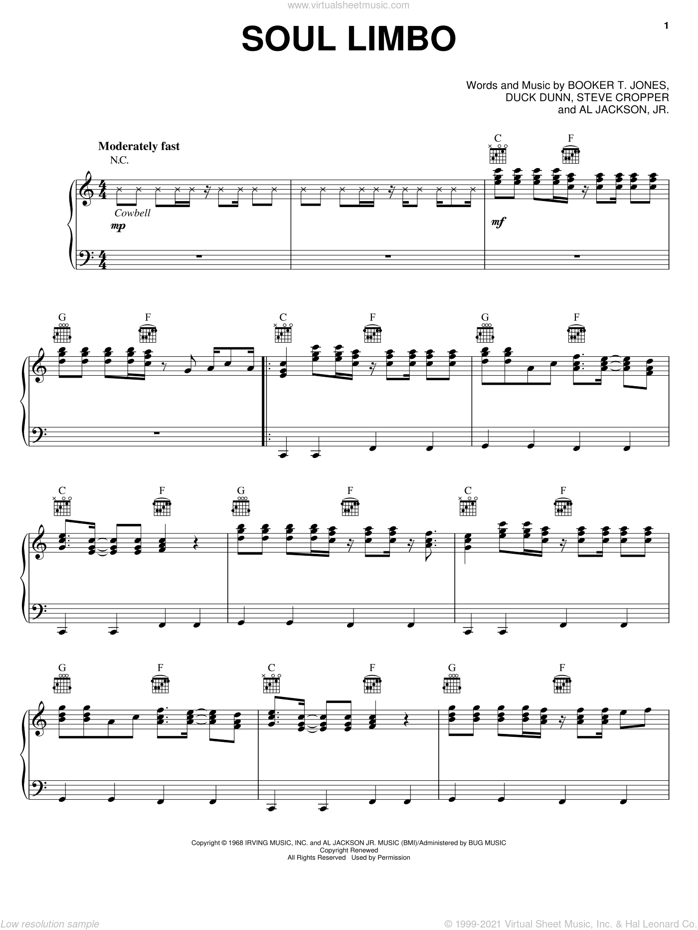 Soul Limbo sheet music for voice, piano or guitar by Duck Dunn and Booker T. Jones. Score Image Preview.