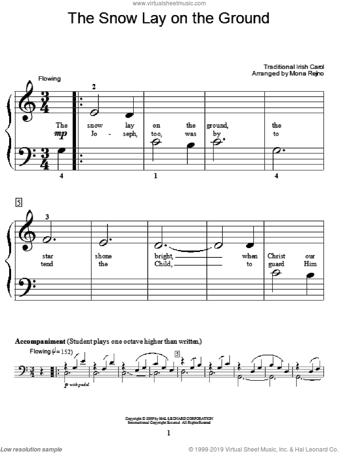 The Snow Lay On The Ground sheet music for piano solo (elementary)  and Mona Rejino, beginner piano (elementary). Score Image Preview.