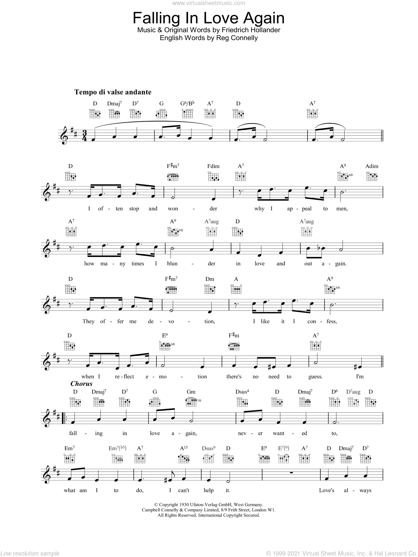 Falling In Love Again sheet music for voice and other instruments (fake book) by Marlene Dietrich, intermediate skill level