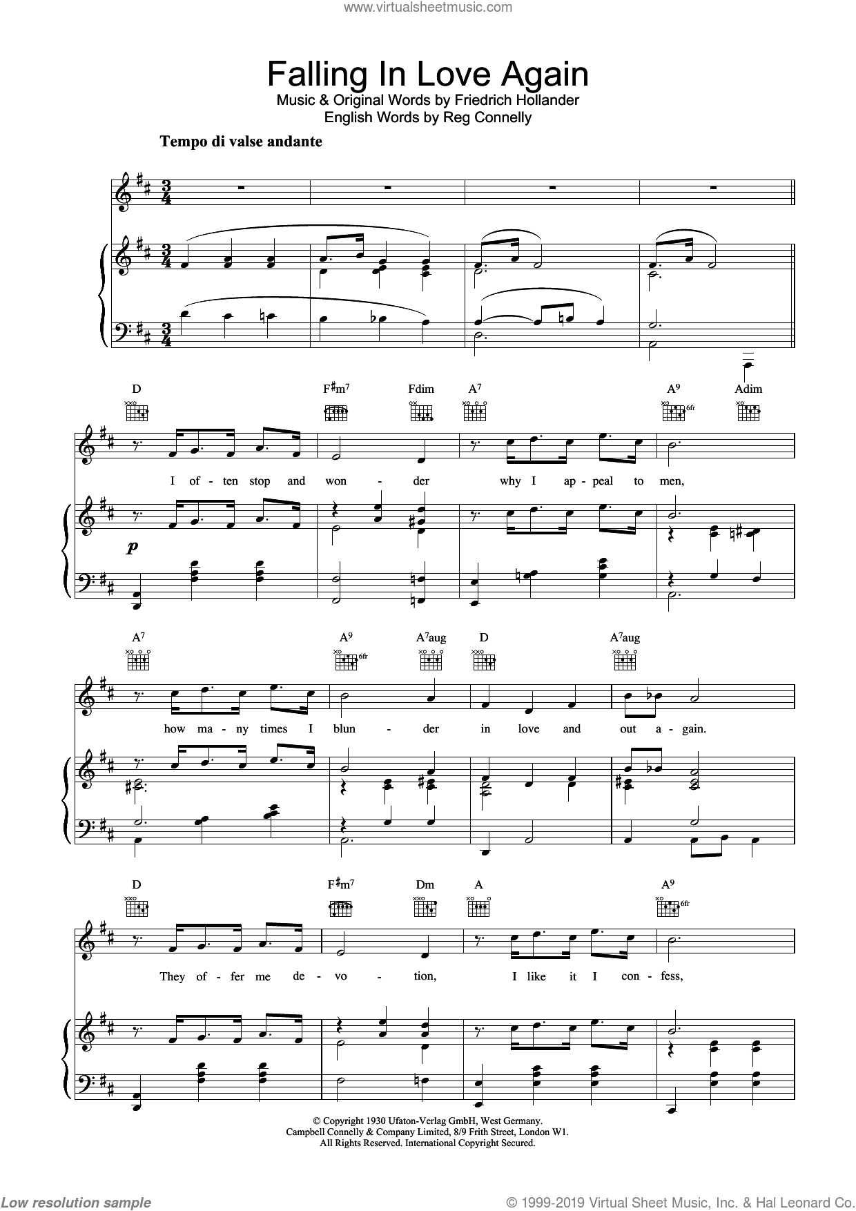 Falling In Love Again sheet music for voice, piano or guitar by Marlene Dietrich, Frederick Hollander and Sammy Lerner, intermediate skill level