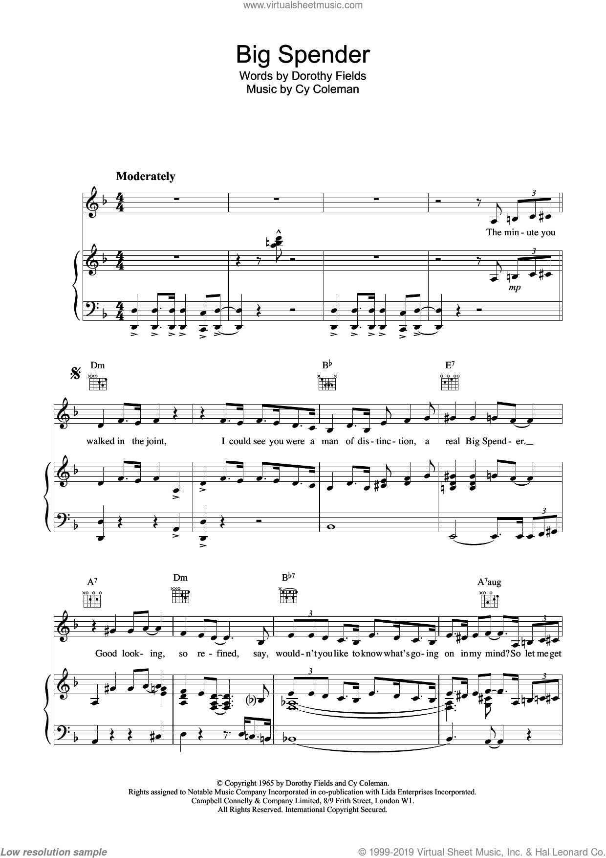 Big Spender sheet music for voice, piano or guitar by Dorothy Fields