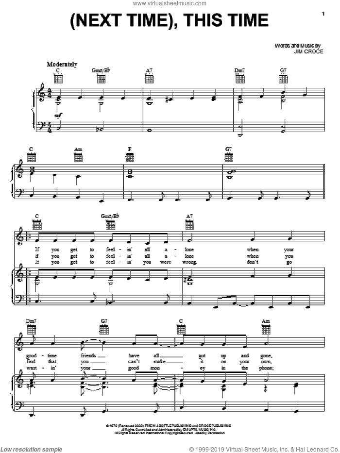 (Next Time), This Time sheet music for voice, piano or guitar by Jim Croce, intermediate skill level