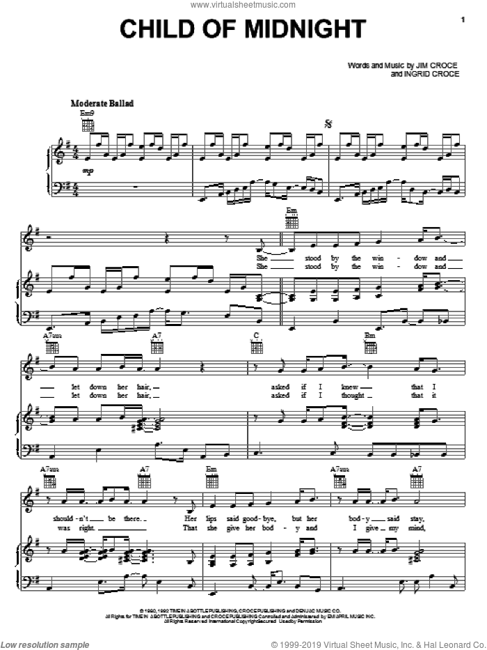 Child Of Midnight sheet music for voice, piano or guitar by Jim Croce, intermediate skill level
