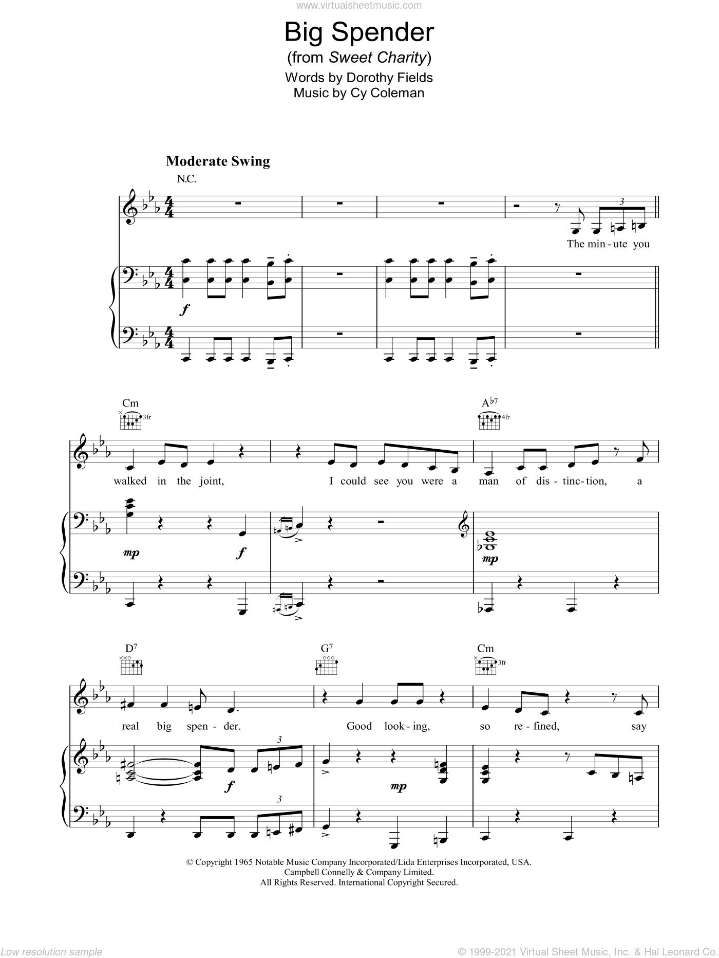 Big Spender sheet music for voice, piano or guitar by Shirley Bassey